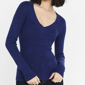 Express Marl V Neck Fitted Sweater